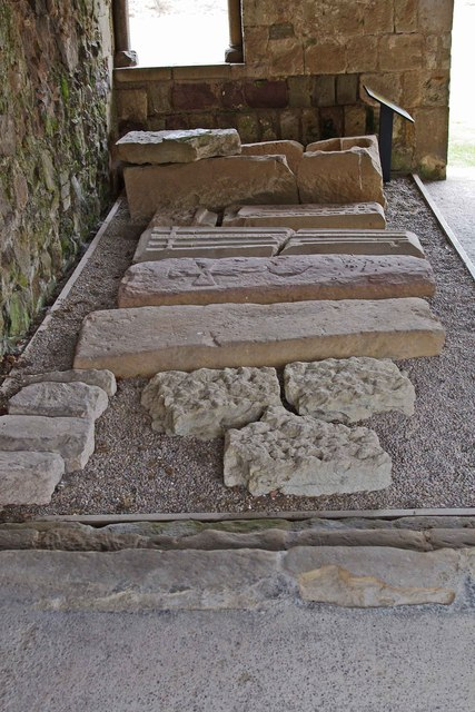 Grave etc in the chapter house, Haughmond Abbey, near Haughton, Shrops