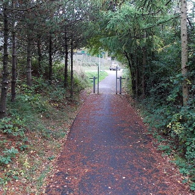 Cycle route 88 reaches Pillmawr Road, Malpas, Newport