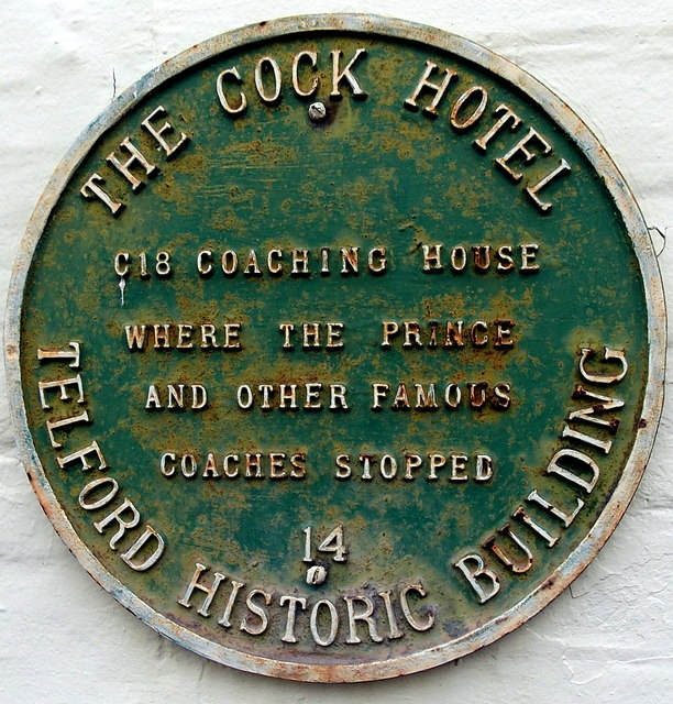 Green plaque on the Cock Hotel, Wellington