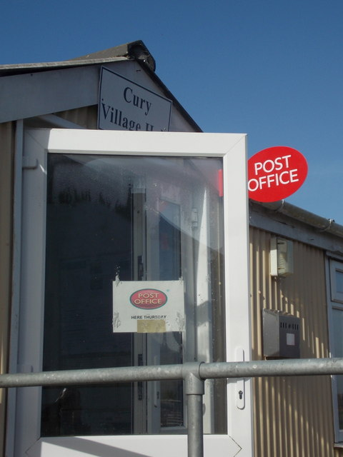 Cury: post office sign at the village hall