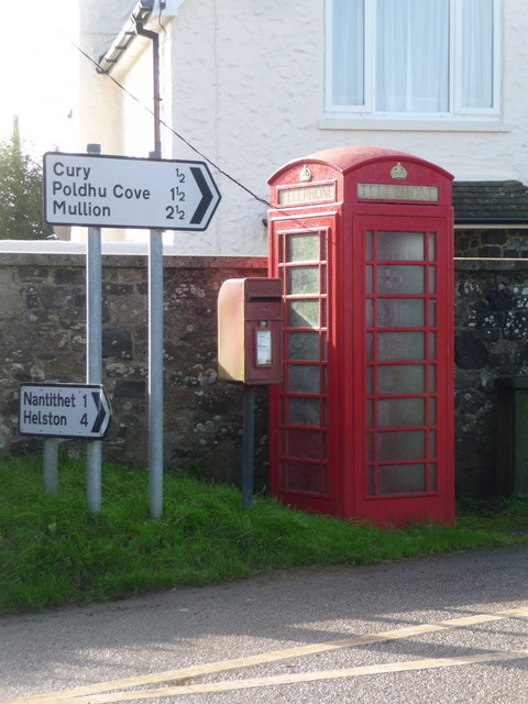 Cury: postbox № TR12 36 and phone, White Cross