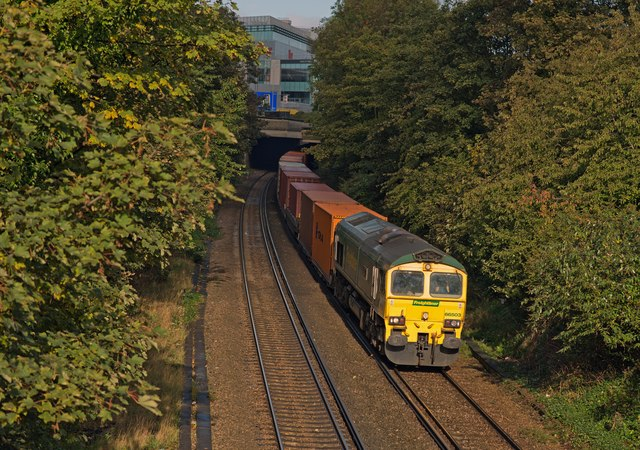 Freight train approaching Kensington Olympia