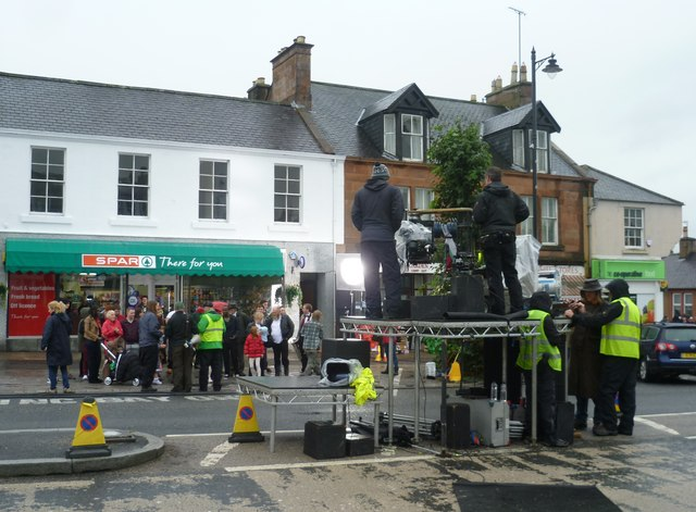 Filming outside Spar, Drumlanrig Street