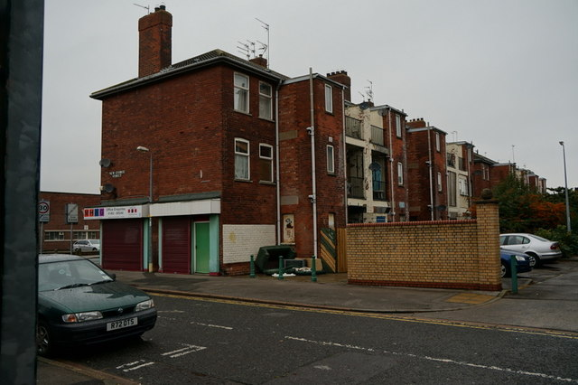 The rear of the shops on Caroline Street, Hull