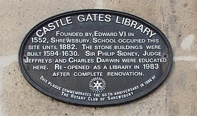Castle Gates Library plaque, Shrewsbury