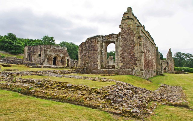 The ruined Haughmond Abbey, near Haughton, Shrops