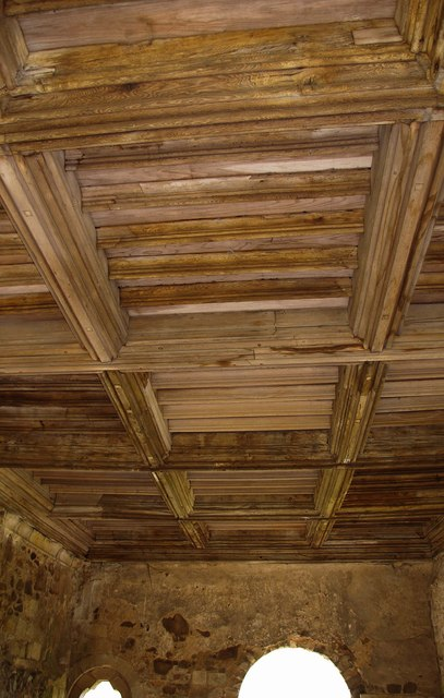 The timber ceiling of the Chapter House, Haughmond Abbey, near Haughton, Shrops