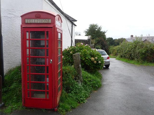 Lewannick: a red phone box