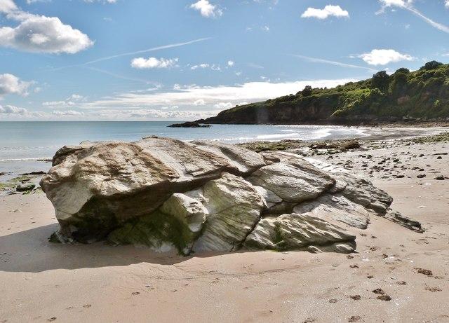 Large rock on beach at St. Mary's Bay, Brixham