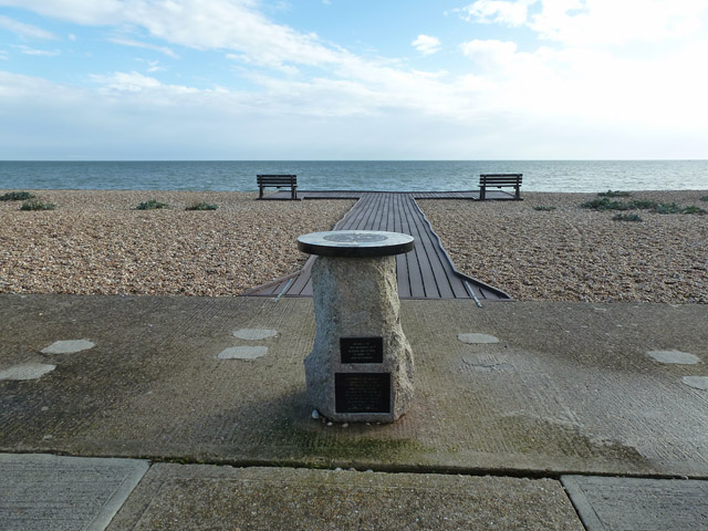 Points of the compass, board-walk, seats