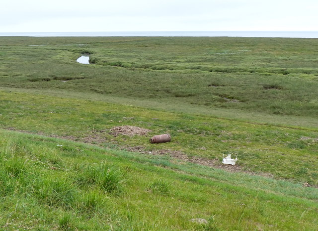 Debris at the base of the sea bank