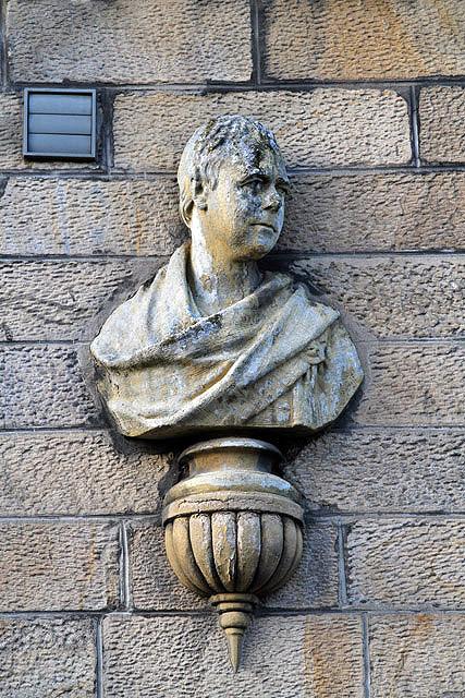 A Sir Walter Scott bust in St Andrew Street, Galashiels