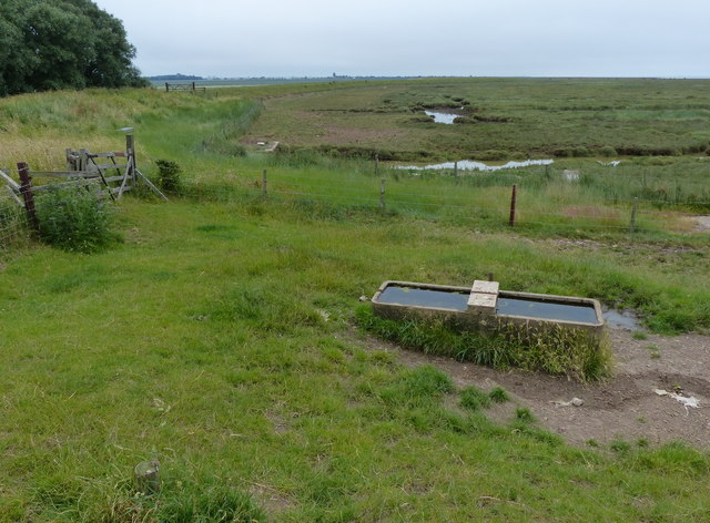 Cattle trough next to the sea bank