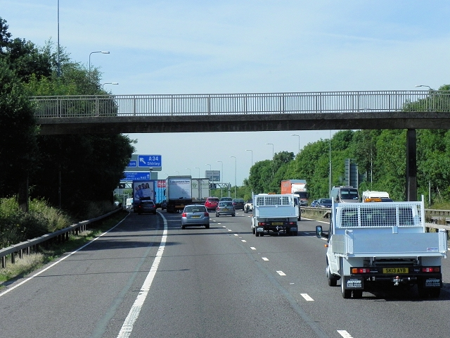 Southbound M42, Footbridge at Shelly Coppice