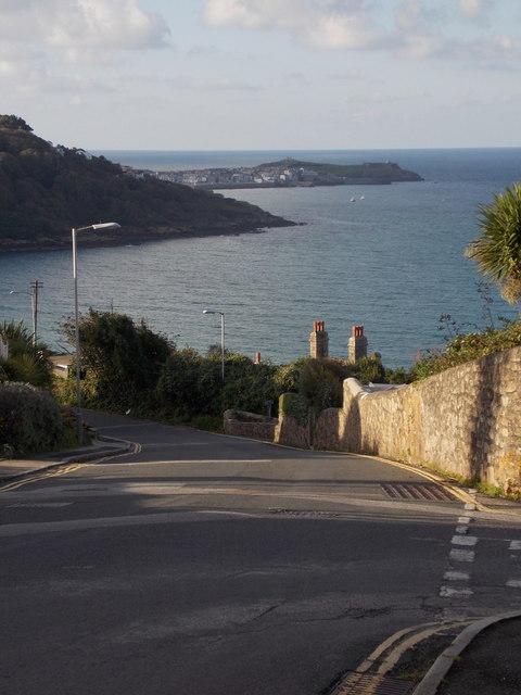 Carbis Bay: looking down Porthrepta Road