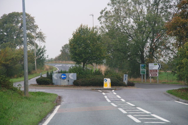 Ashby Hill roundabout from the A18 northbound