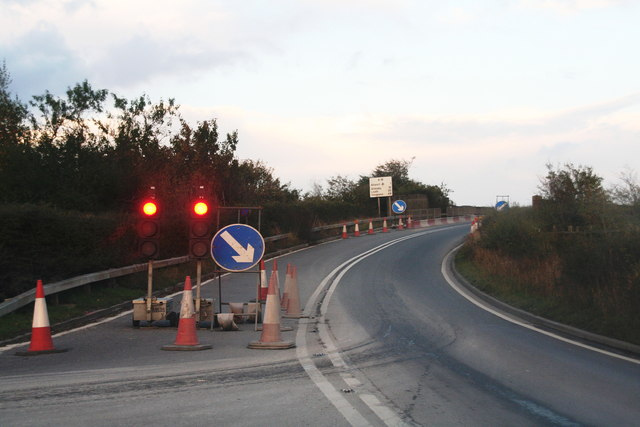 Road works on the railway bridge by Melton Ross quarry
