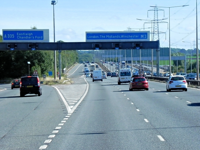 Northbound M3, Exit at Junction 13