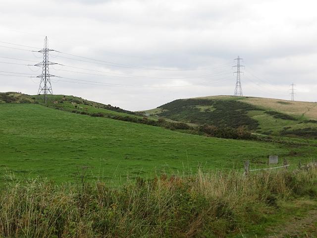 Power lines crossing the Ochil Hills