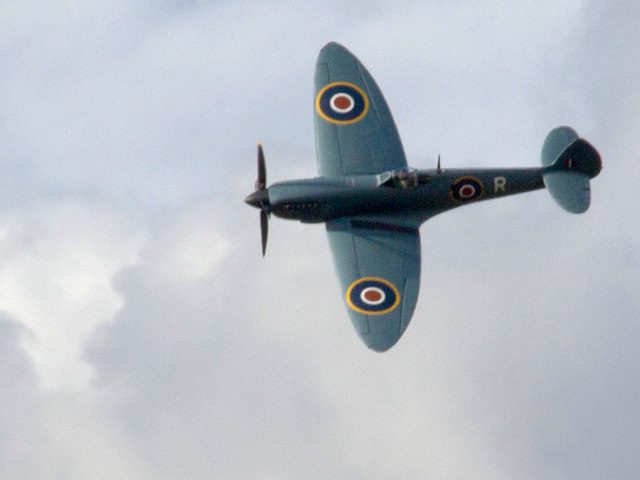 Replica Spitfire over Wellesbourne Airfield