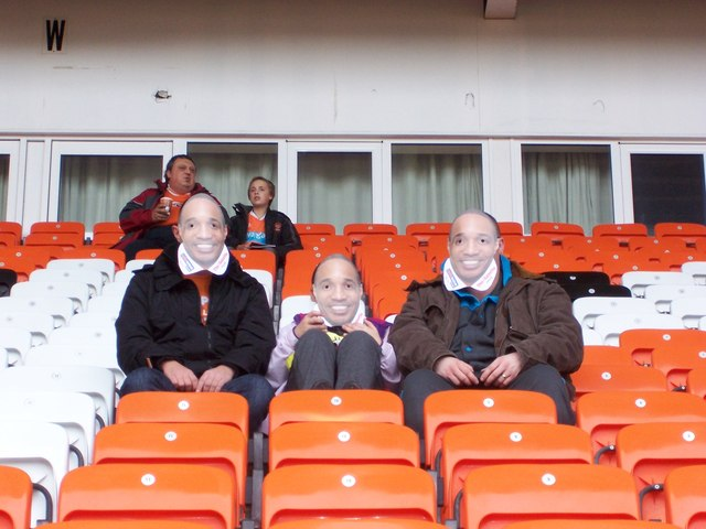 Masked Fans in the South Stand, Bloomfield Road, Blackpool