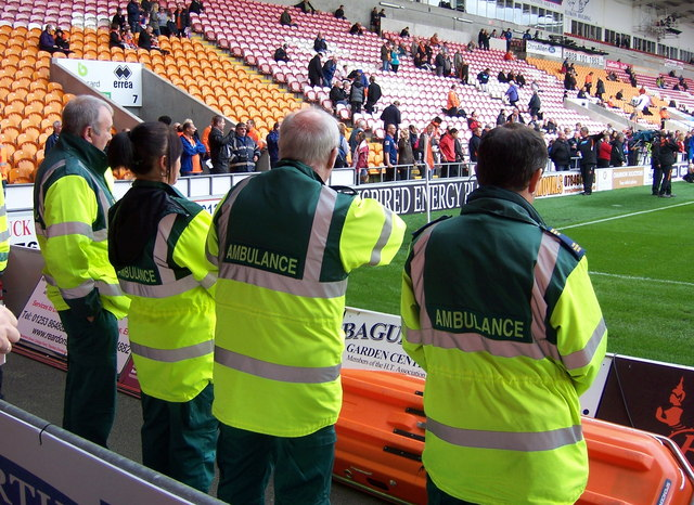 Ambulance Crew at Blackpool FC's Bloomfield Road Ground