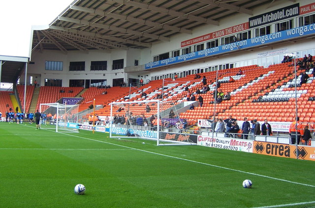 Two Goals and Two Balls at Blackpool FC's Bloomfield Road Ground