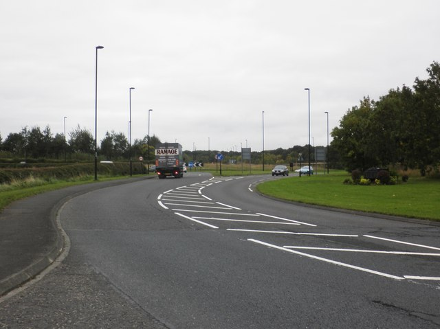 Approaching the main roundabout, West Moor