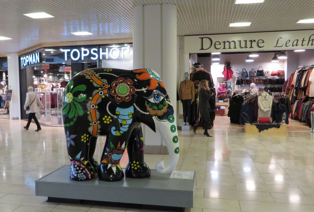 Elephant in the shopping mall