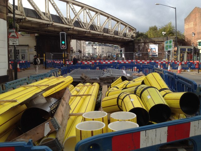 Pipes awaiting installation, High Street