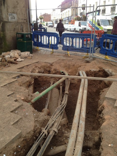 Underground services exposed, High Street / Clemens Street corner