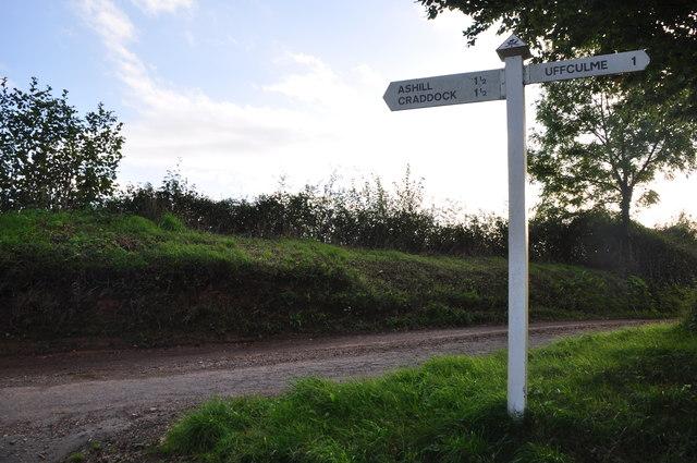 Mid Devon : Country Lane & Signpost