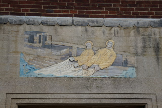 A fishermen mural on Goulton Street, Hull