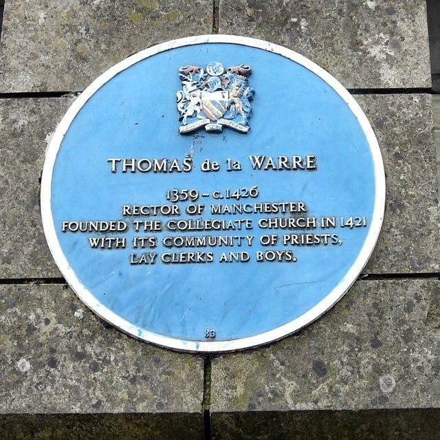 Blue plaque: Thomas de la Warre