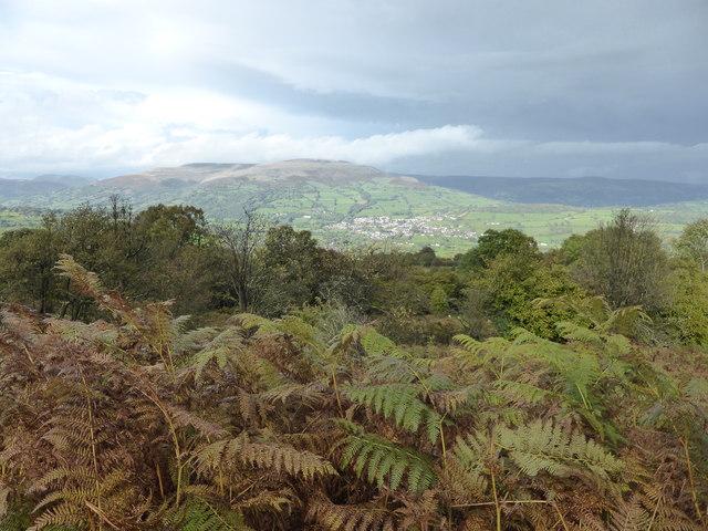 View towards Crickhowell from above Llangattock
