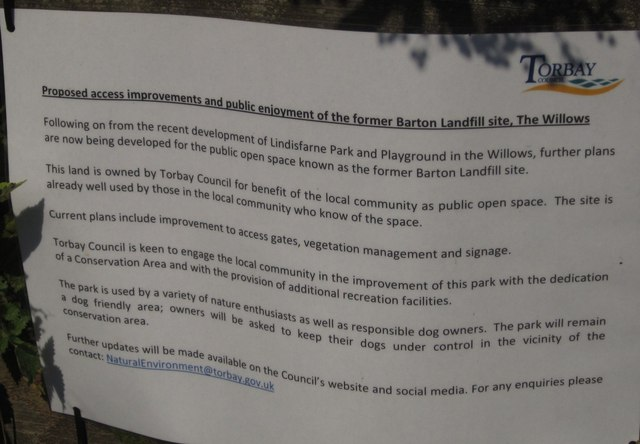 Notice about Barton landfill site