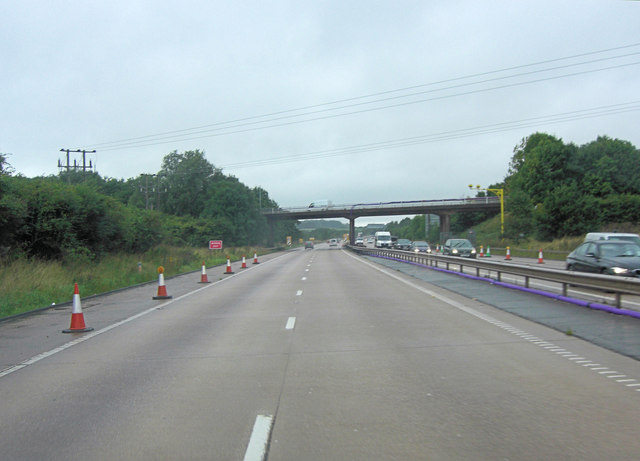 M54 approaches Lawn Lane overbridge