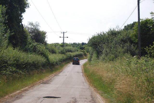 Narrow rural lane near Weir Wood Reservoir