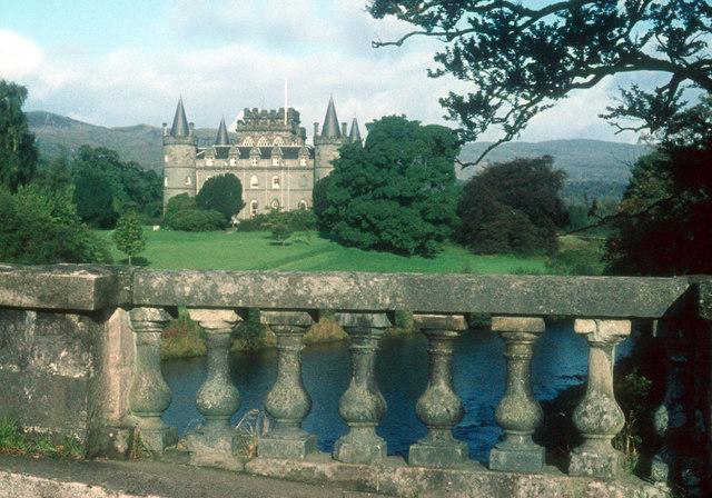 Inveraray Castle from the old military bridge over the Aray