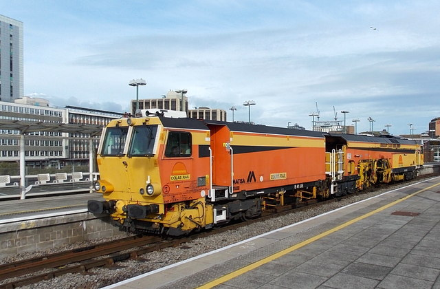 Colas Rail Matisa B41UE tamper at Cardiff Central railway station