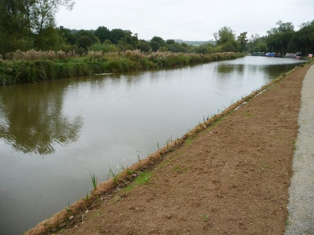 Repaired towpath bank, Kennet & Avon canal