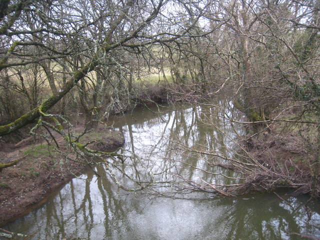 The River Carey looking downstream from Boldford Bridge