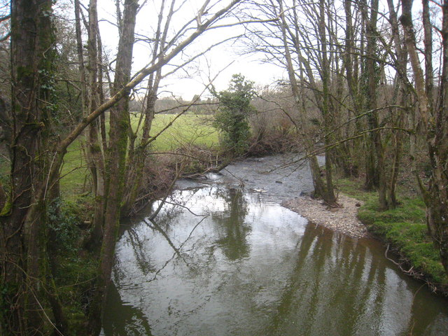 The River Carey downstream from Downacarey Bridge