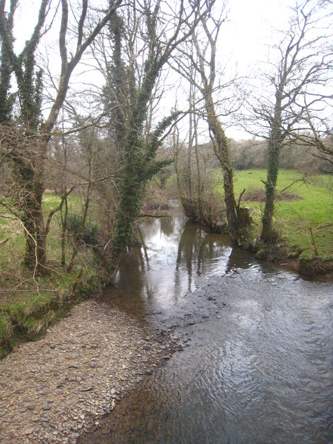 The River Carey upstream from Downacarey Bridge