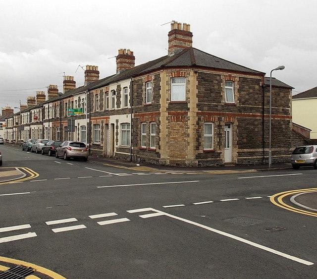 Bricked-up corner of May Street and Dalton Street, Cathays, Cardiff