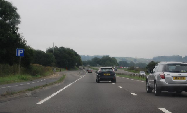 Approaching a layby, A40