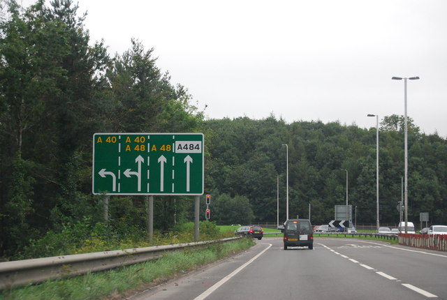 Approaching the A40 / A48 junction