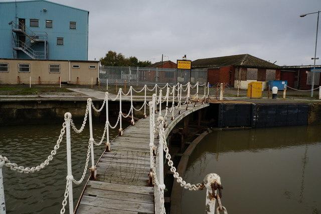 The inner lock gate at Albert Dock, Hull