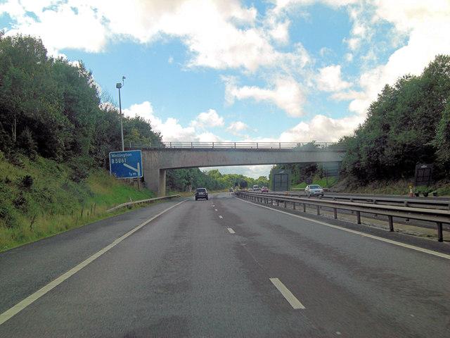 M54 approaches Ercall Lane overbridge