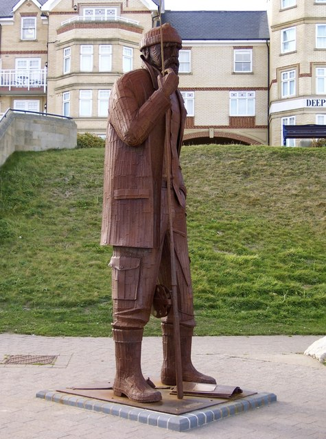 Fisherman's statue feature on the Promenade, Filey